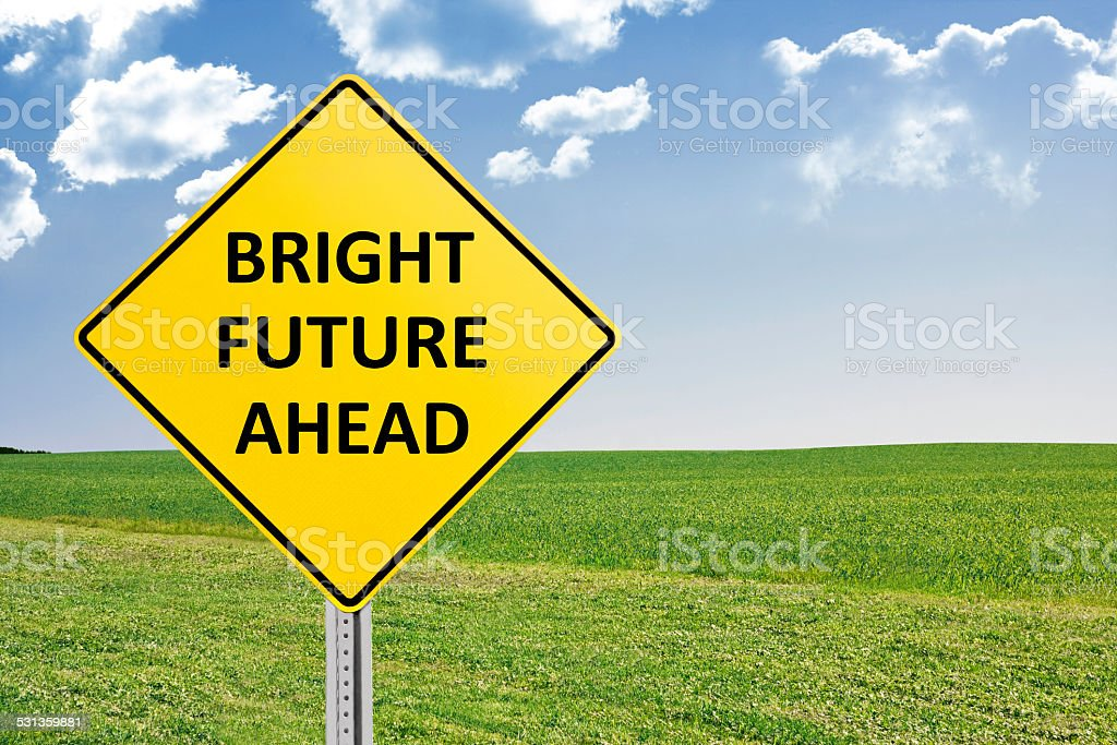 Bright Future Ahead Yellow Road Sign Stock Photo & More