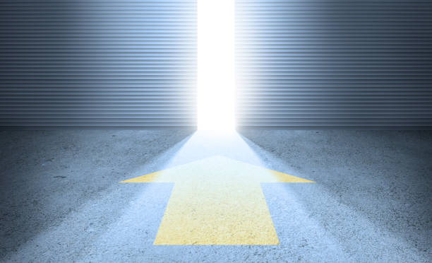 bright future. arrow, open door and beam of light - beginnings stock photos and pictures