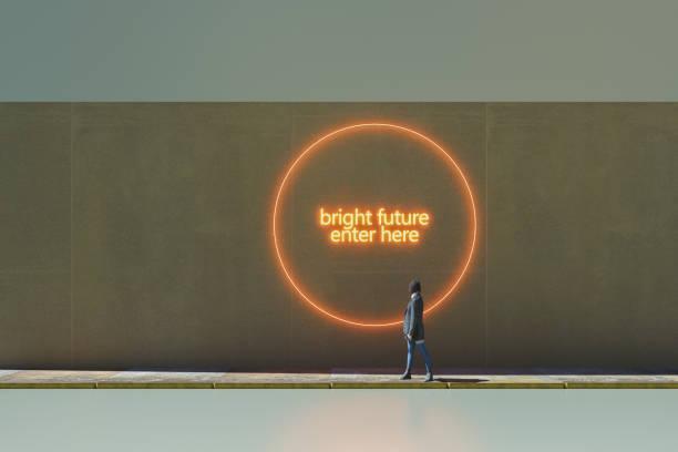 Bright future enter here stock photo