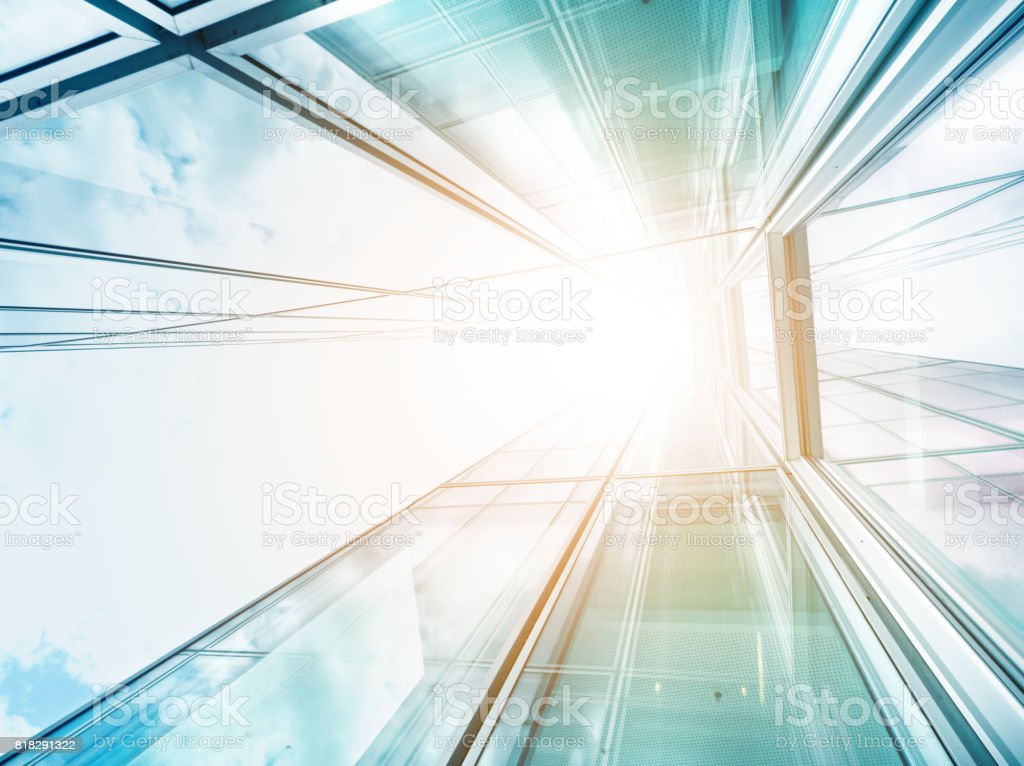 Bright future, finance buildings seen from below stock photo
