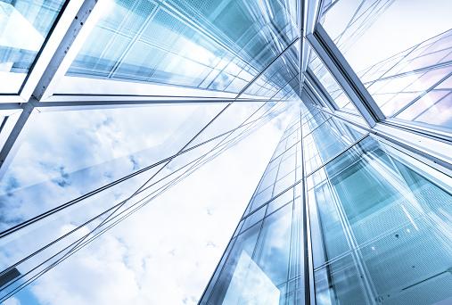 Bright future, finance buildings seen from below