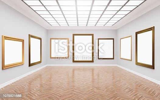 istock Bright gallery, museum room. 1075521588