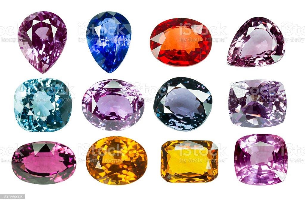 Bright gems on a white background - Royaltyfri Beskrivande färg Bildbanksbilder