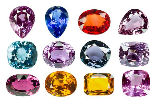 Bright Gems On A White Background-foton och fler bilder på Beskrivande färg