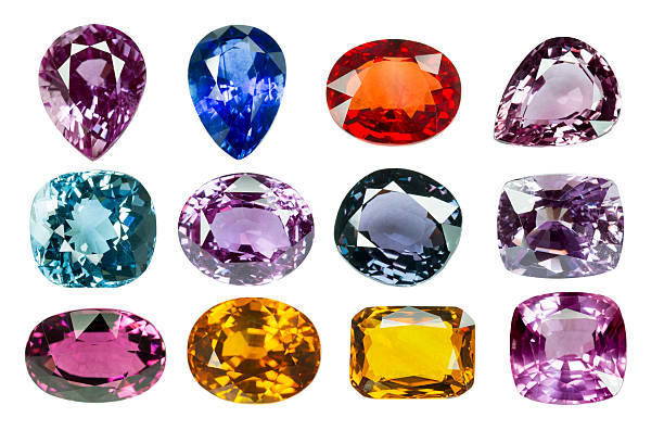 bright gems on a white background - smyckessten bildbanksfoton och bilder