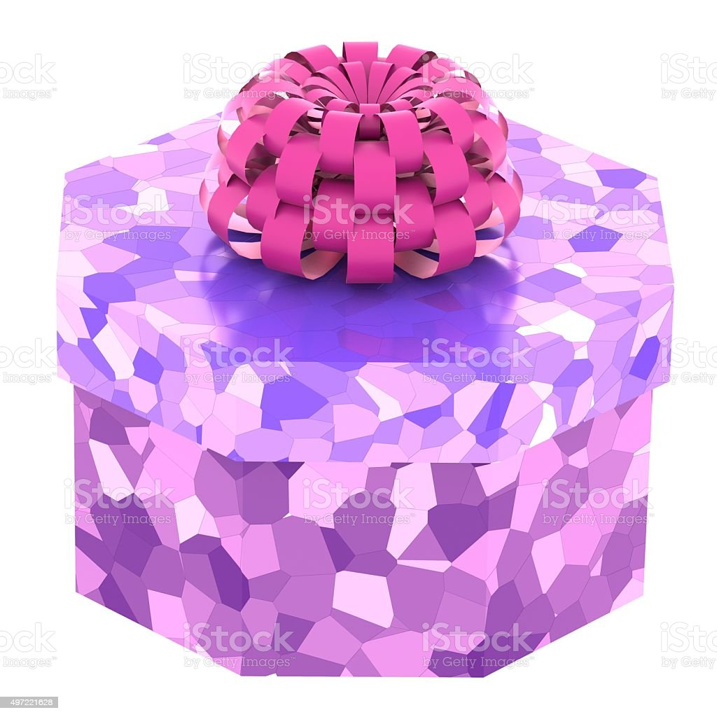 bright gift box with bowknot stock photo