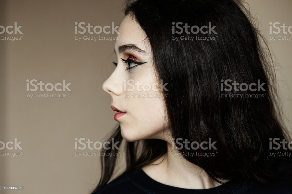 Bright glitter red make up for party stock photo