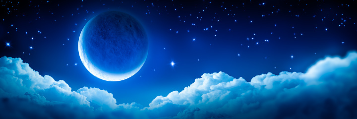 Banner Of Bright Glowing Crescent Moon Above Fluffy Clouds With Starry Sky Background