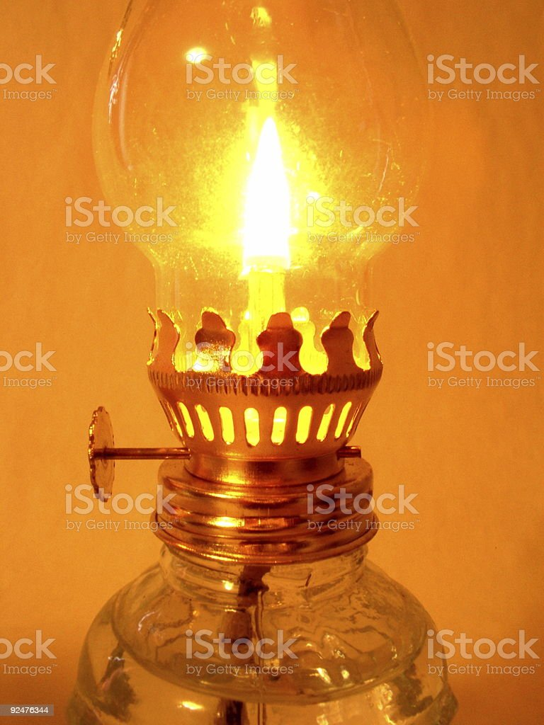 Bright glowing oil lamp royalty-free stock photo