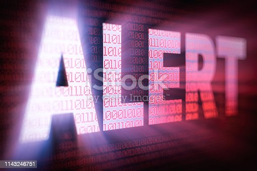 istock ALERT bright glowing word on computer screen filled with binary code 1143246751