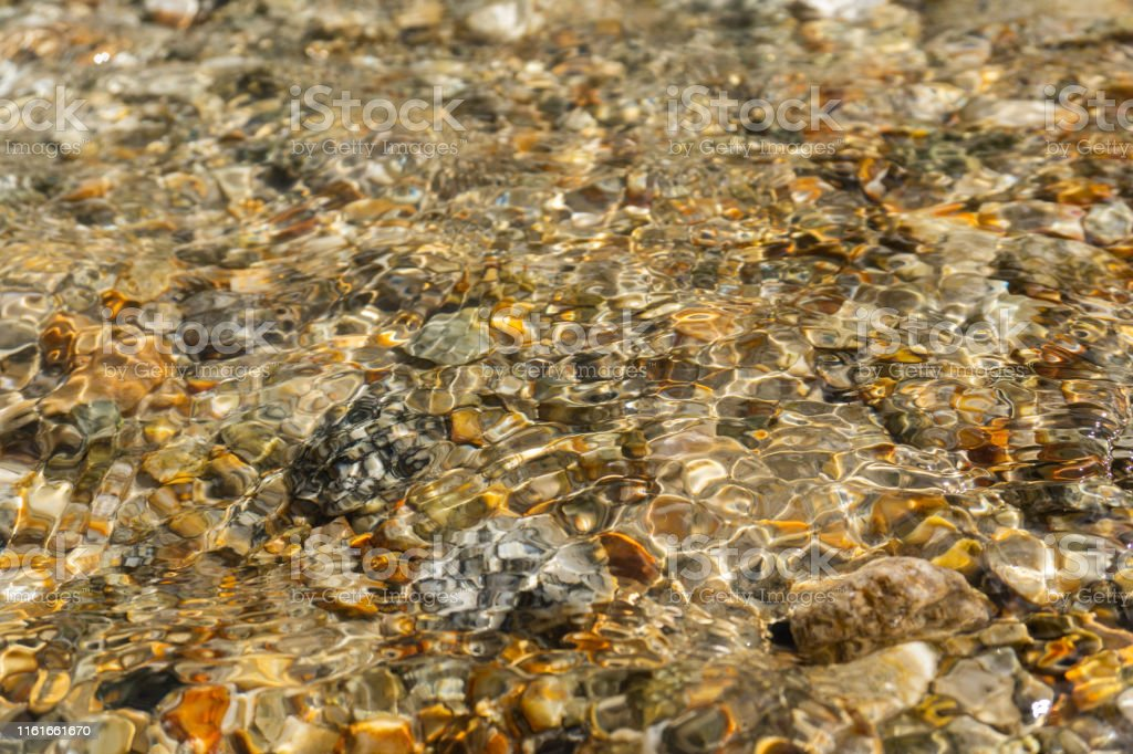 bright Golden stones at the bottom of a clear stream. Abstract...