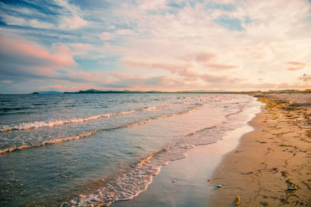 hellen goldenen Sonnenuntergang am Strand, die Wellen auf dem Sand, Muscheln. – Foto