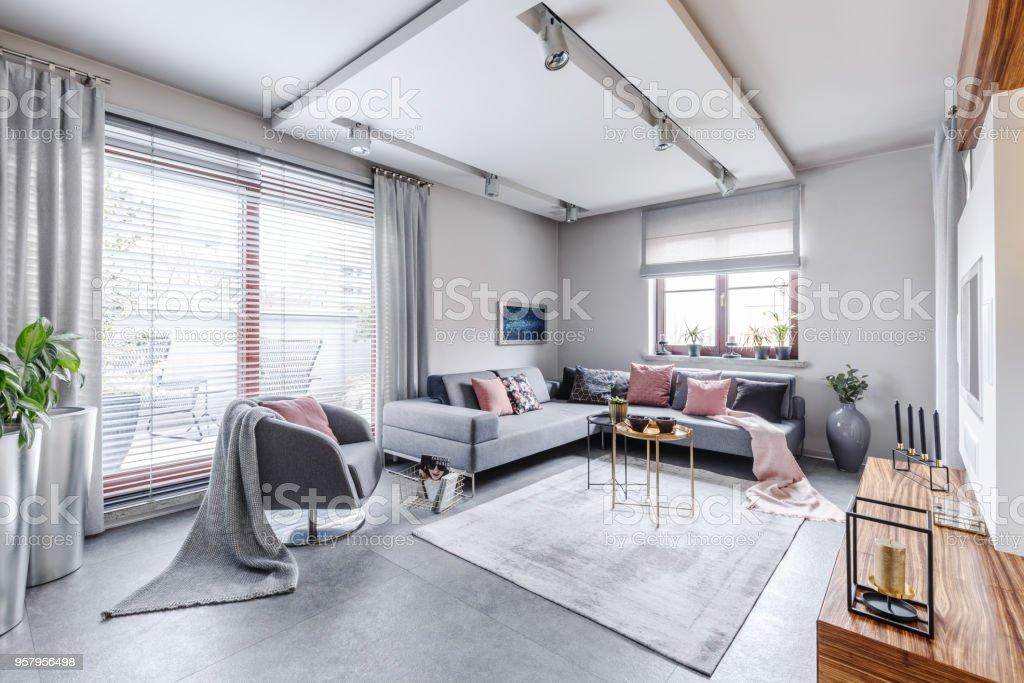Bright gray living movie room – zdjęcie