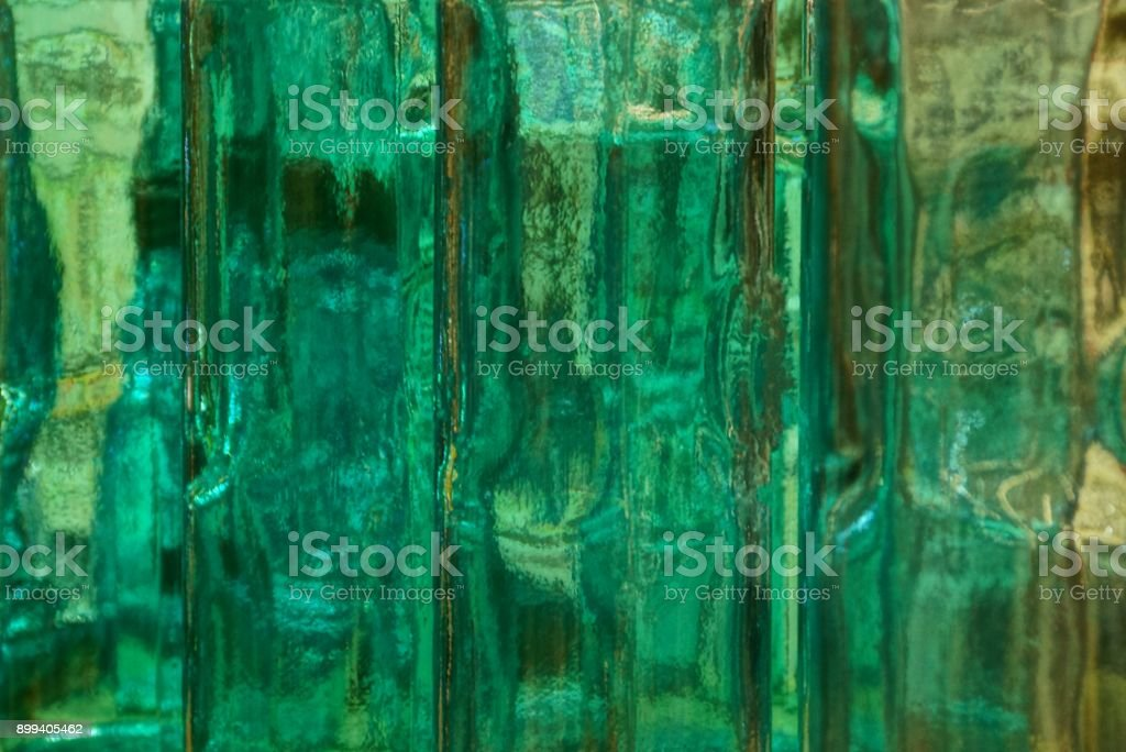 bright green background of thick clear glass stock photo