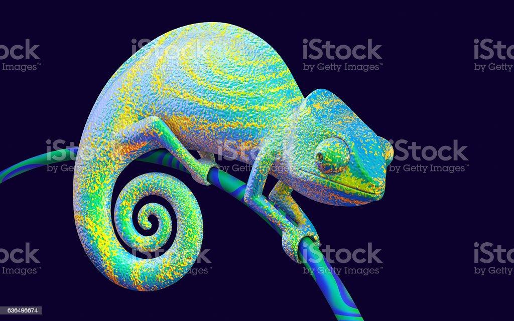 Bright green chameleon, 3d rendering. stock photo