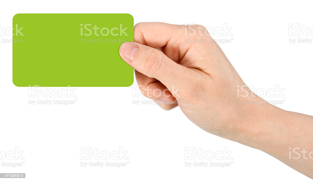 A bright green colored blank card royalty-free stock photo