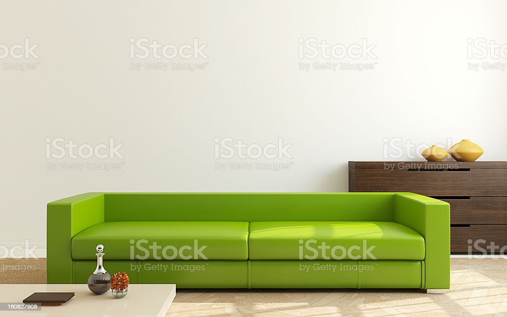 Bright green couch in a minimalist modern room setting royalty-free stock photo