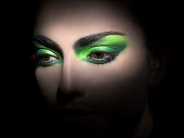 bright green eyeshadow close-up