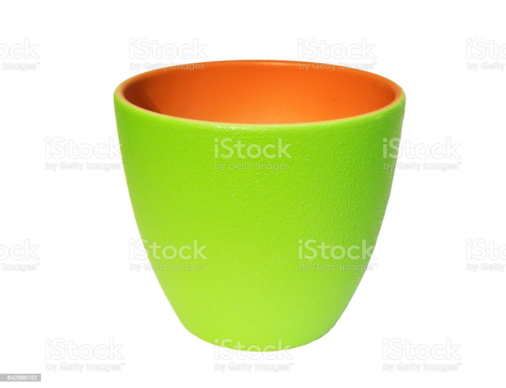 Bright green flower pot isolated stock photo