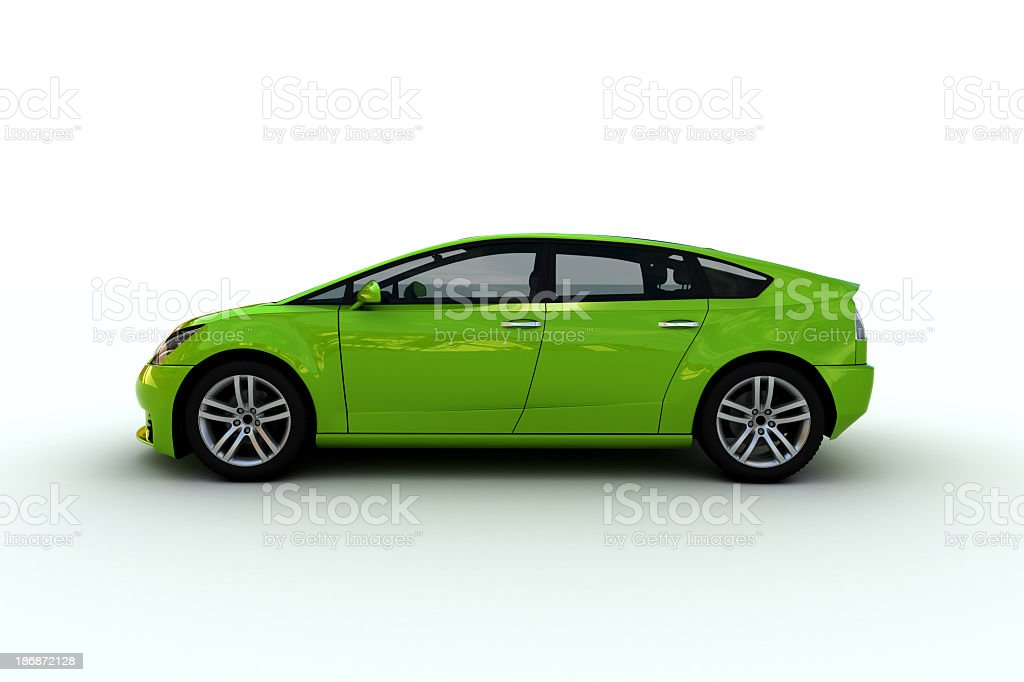 A bright green hatchback family car stock photo