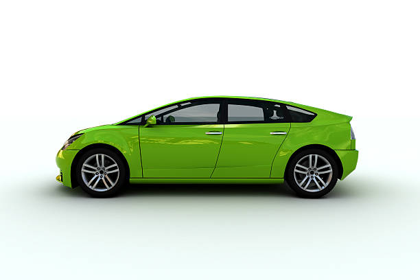 A bright green hatchback family car A family car designed by myself.xxxL image. alternative fuel vehicle stock pictures, royalty-free photos & images