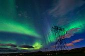 Bright green Northern lights (Aurora borealis)