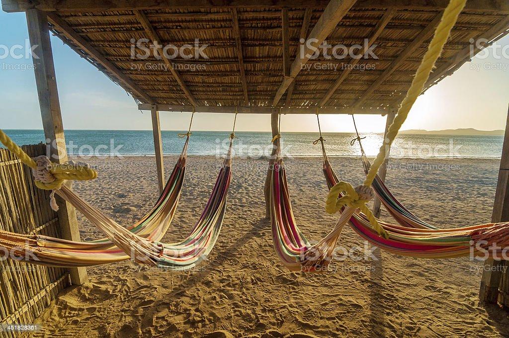 Bright Hammocks and Beach stock photo