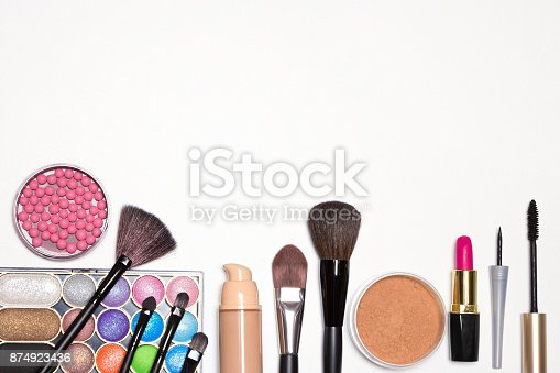 istock Bright holiday make-up essentials with free space for text 874923436