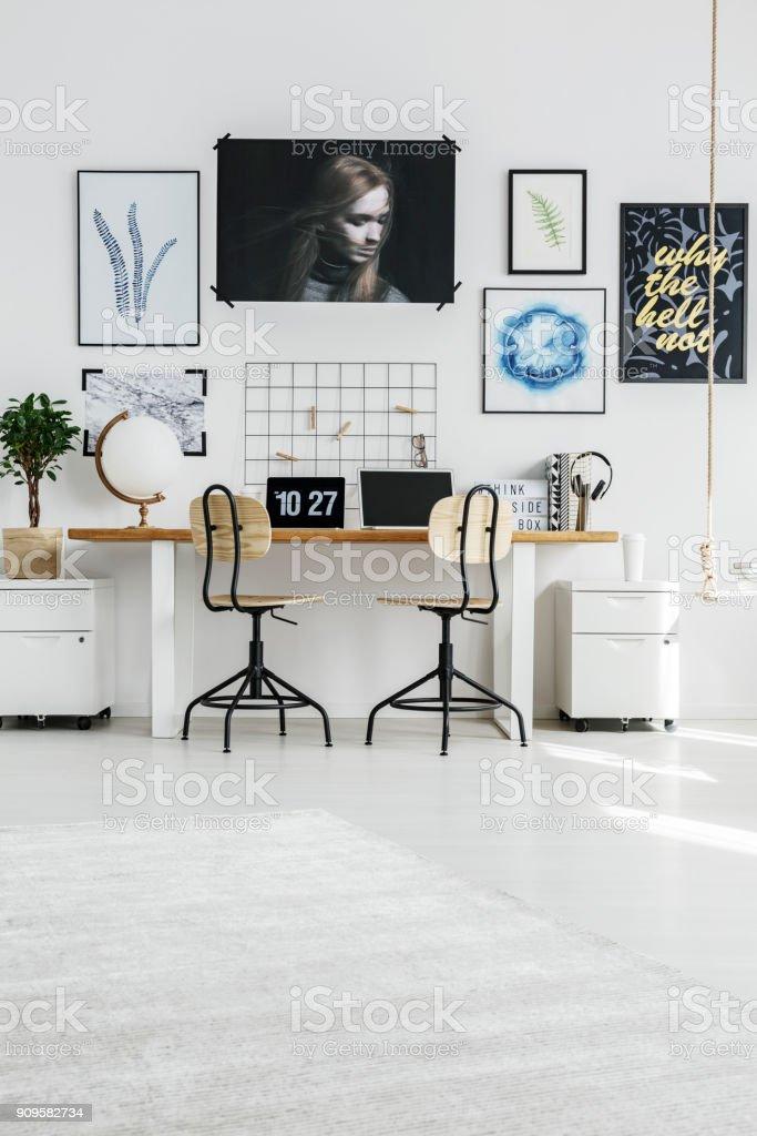 Bright home office interior stock photo