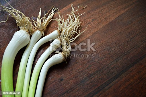 923629650istockphoto A bright horizontal click of white garlic bulbs with  roots bunch and shoots with light green shade over a dark brown wooden board surface 1096464798
