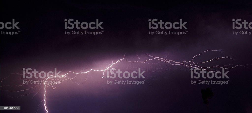 Bright horizontal lightning strike royalty-free stock photo
