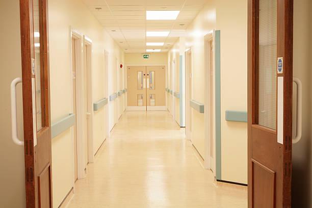 Bright Hospital Corridor stock photo