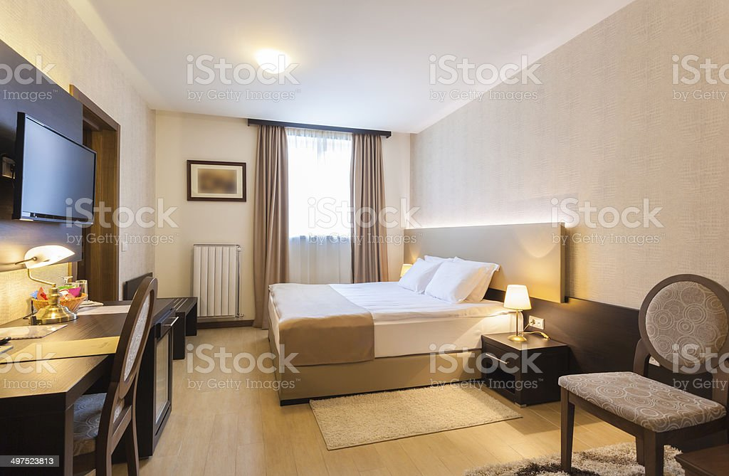 Bright hotel room interior stock photo