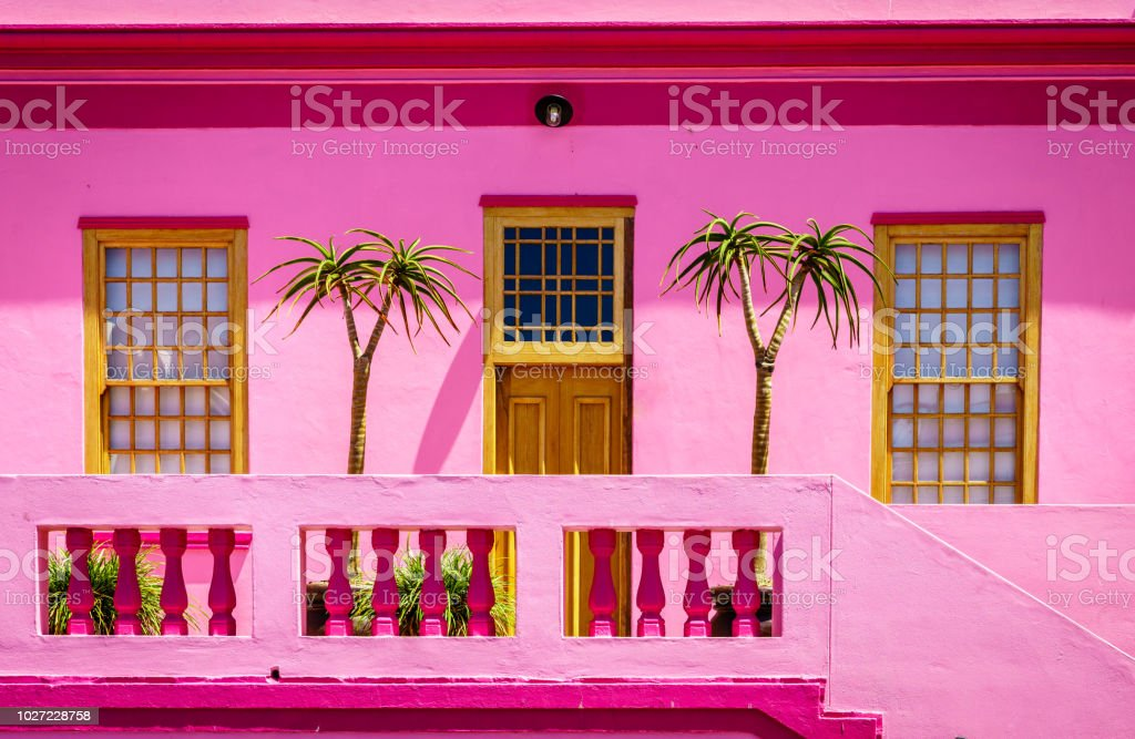 Bright house façade stock photo