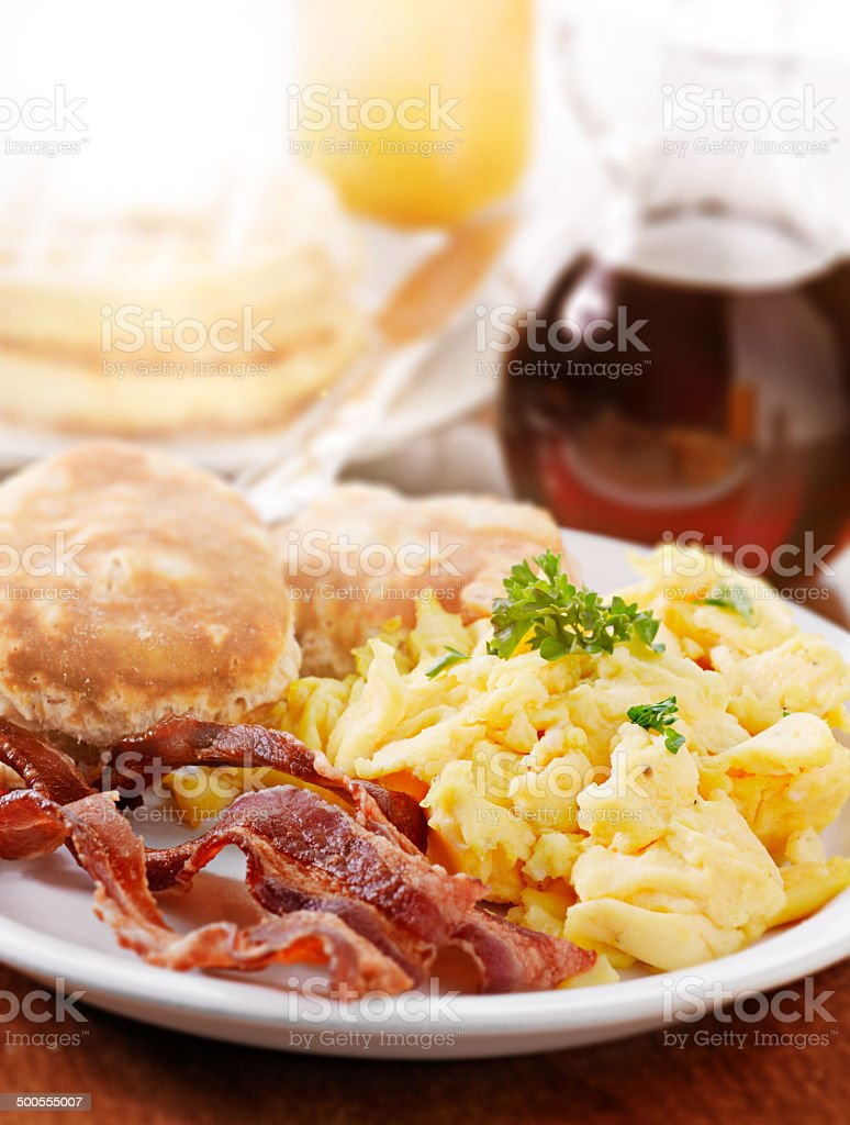 bright huge breakfast stock photo
