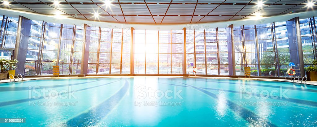 bright indoors swimming pool stock photo