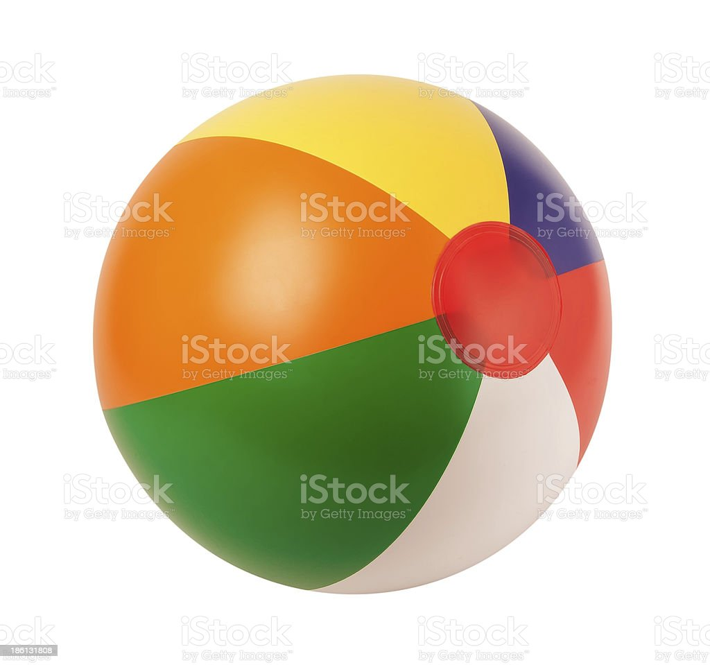 Bright inflatable ball isolated on white background stock photo