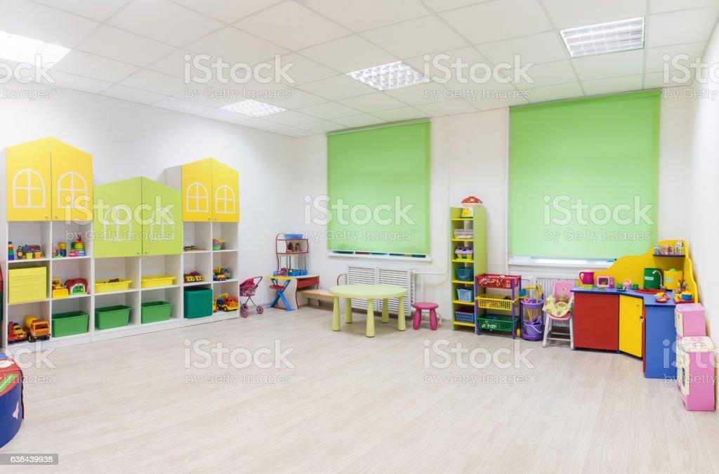 Bright Interior of a modern kindergarten in yellow and green - Lizenzfrei Architektur Stock-Foto