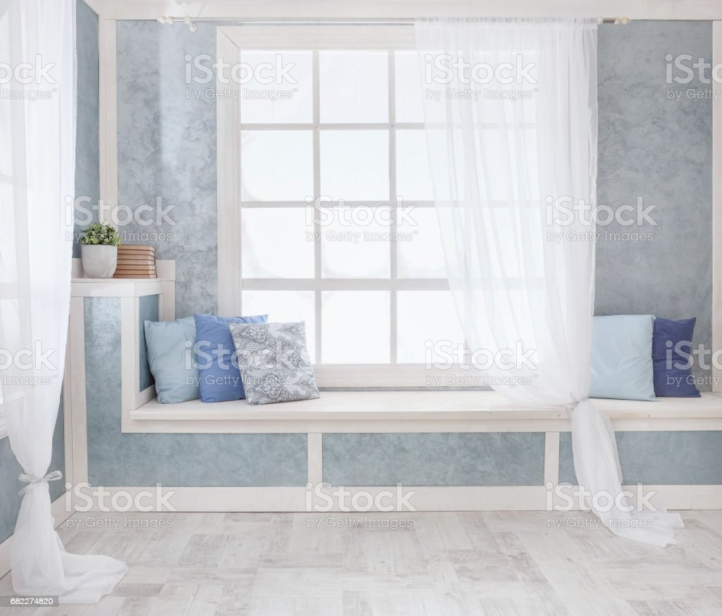 Bright Interior Window With Curtains White Window Sill Room Stock Photo Download Image Now Istock