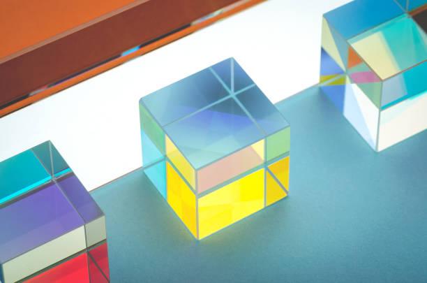 bright iridescent glass square prisms close-up