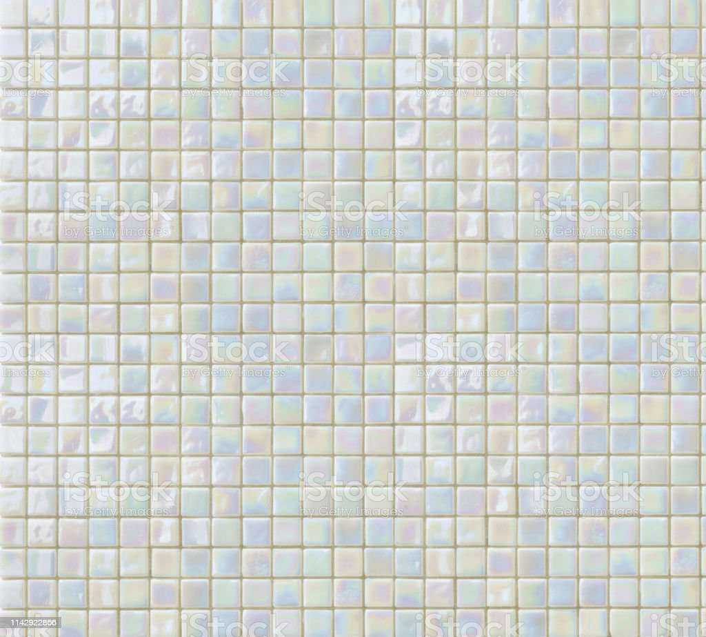 Bright Iridescent White And Beige Mosaic Tiles Texture