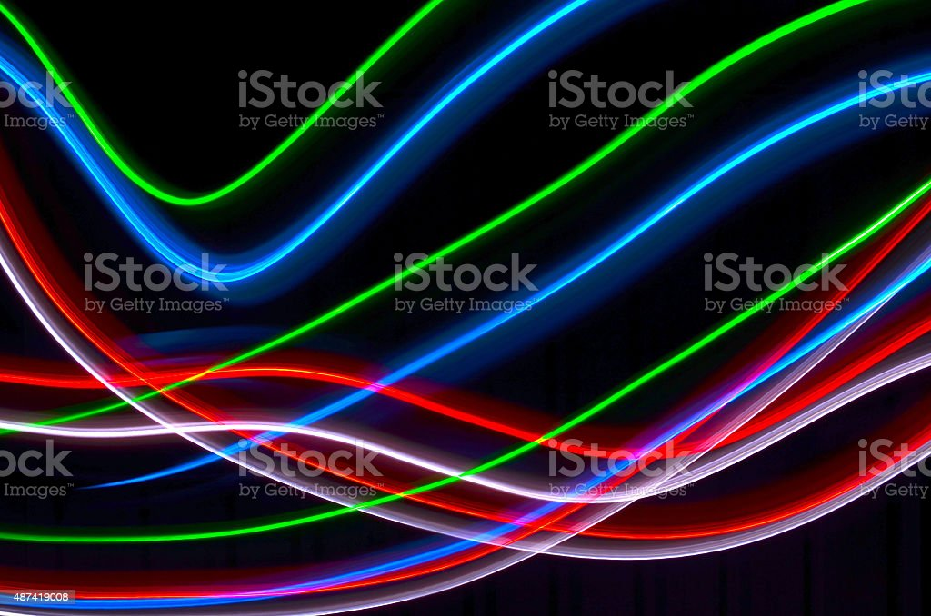 a series or bright LED lights painted with a black background