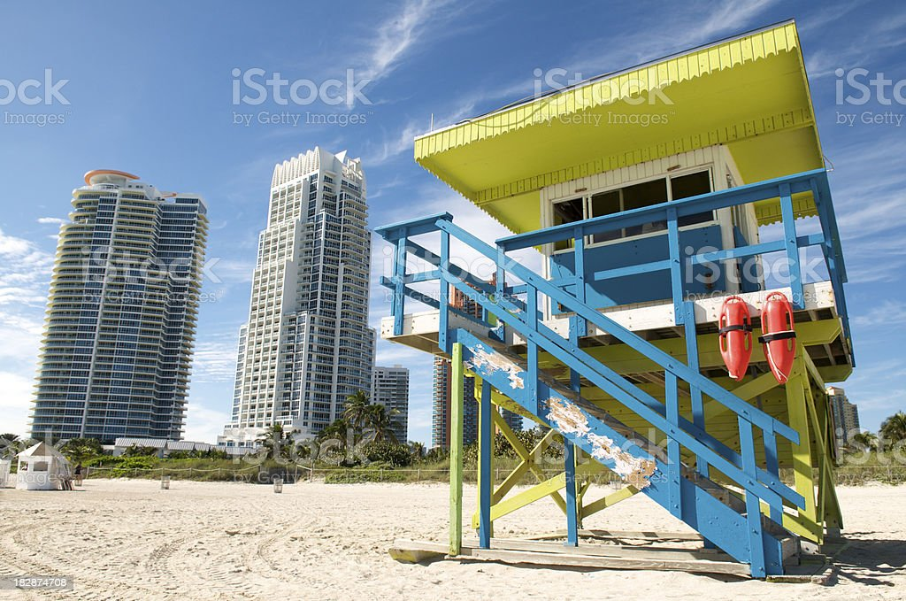 Bright Lifeguard Tower Beach Skyscrapers royalty-free stock photo