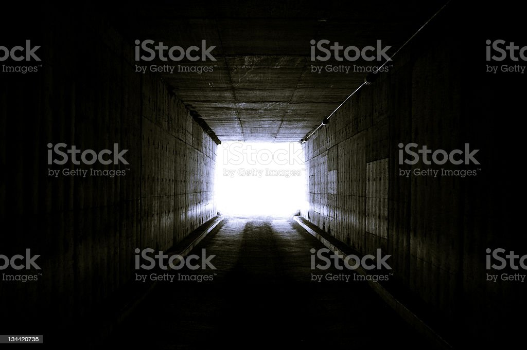 Bright Light at the End of Tunnel stock photo