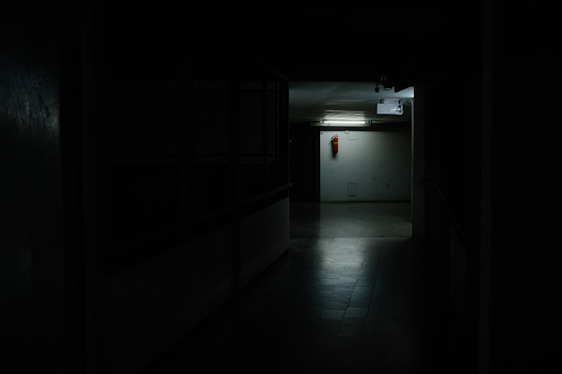 Bright light at the midway of horror corridor