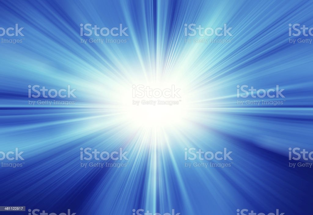 Bright light coming from sun against blue stock photo