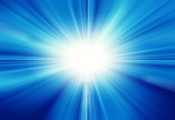 青い空と太陽レンズフレア ストックフォト