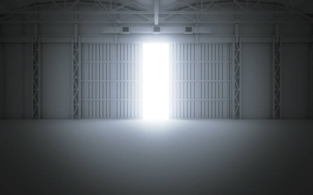 bright light coming through open hangar doors. 3d rendering - open gate stock photos and pictures