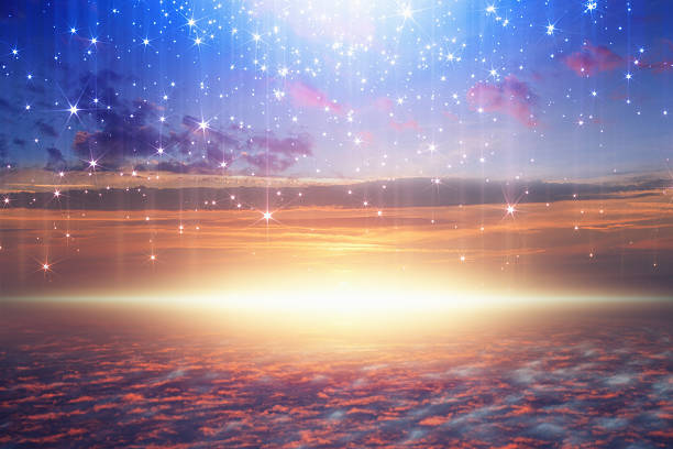 bright light from heaven, stars fall from skies stock photo