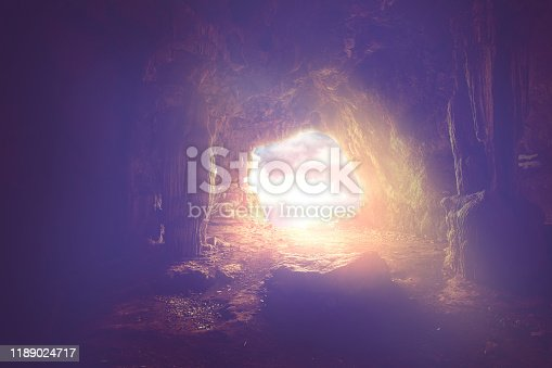 bright light shine to the entrance to the dark cave, holy bible concept.